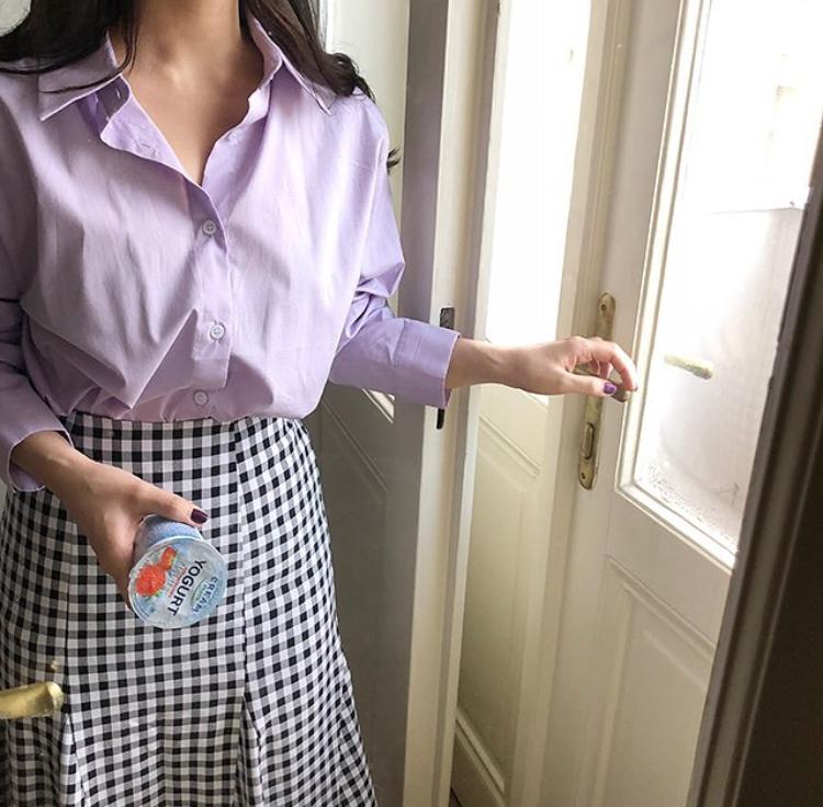 オルチャン パープルシャツ スカートコーデ