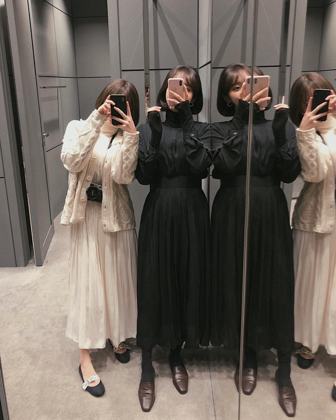 ロングプリーツスカート ホワイトブラック