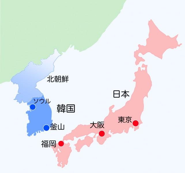 日本と韓国の地図
