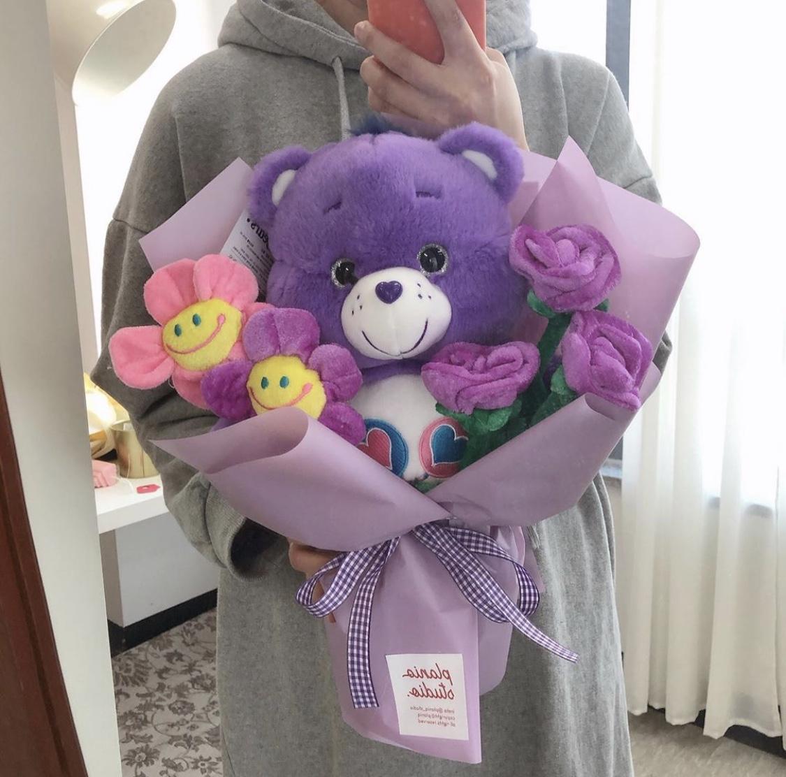 ケアベア 花束 紫
